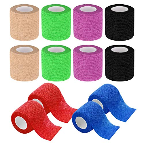 tonyg-p 12 Stück Selbstklebender Bandage Kohäsive Bandage, Elastischer atmungsaktiver Tierarztwickelband für Stretch-Sportler, Sport, Handgelenk, Knöchel, 5cm * 4,5m