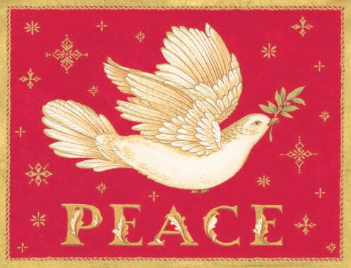 Entertaining with Caspari Peace Dove Christmas Cards with Unlined Envelopes, Box of 16
