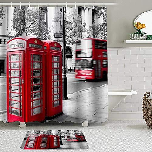 RUBEITA Juego de 2 Cortinas de Ducha y tapetes,Cabina de teléfono y autobús Rojo de Dos Pisos en,Alfombras Antideslizantes,Cortinas de baño Impermeables con 12 Ganchos