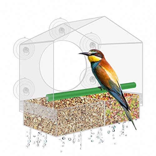 Window Bird House Feeder with Magnetic Sliding Seed Tray and 5 Strong...