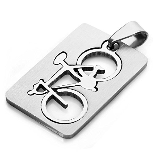 SODIAL Collar Colgante de Bicicleta de Acero Inoxidable para Hombres, Cadena de Plata de 58cm
