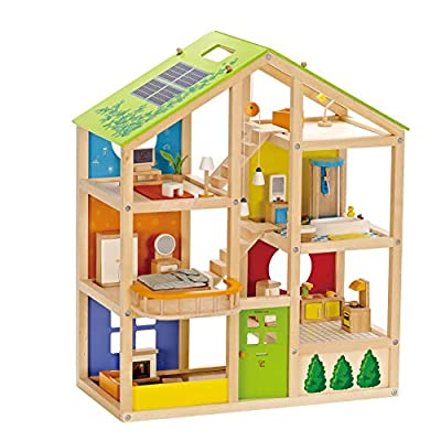 All Seasons Kids Wooden Dollhouse by Hape | Award Winning 3 Story Dolls House Toy with Furniture, Accessories, Movable Stairs and Reversible Season Theme by Hape