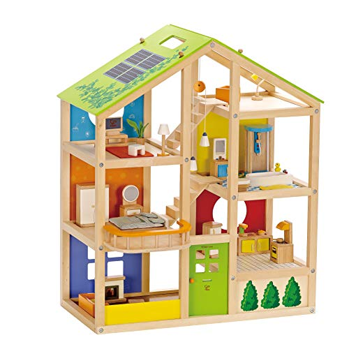 Hape All Seasons Kids Wooden Dollhouse by Award Winning 3 Story Dolls House Toy with Furniture, Accessories, Movable Stairs and Reversible Season Theme