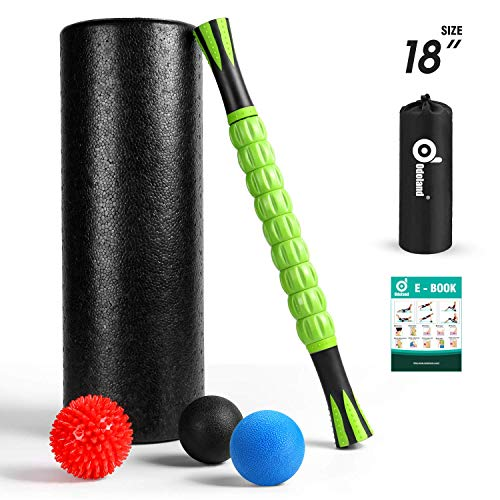 Odoland Faszienrolle Faszien Roller Fitness Set 6 iN 1 mit Foam Roller Massageroller Massagebälle für Faszientraining von Muskeln und Entlastung Muskelkate