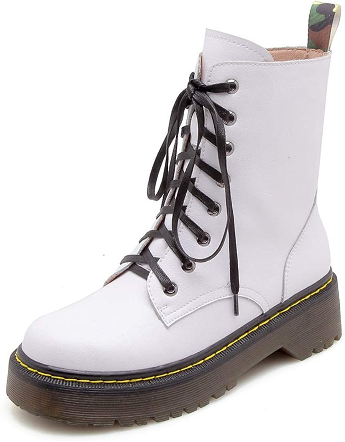 Women's shoes Leather Autumn Winter Rivets Boots Zipper Martin Boots High-top Casual shoes Outdoor Hiking shoes White Red Black (color   White, Size   39)