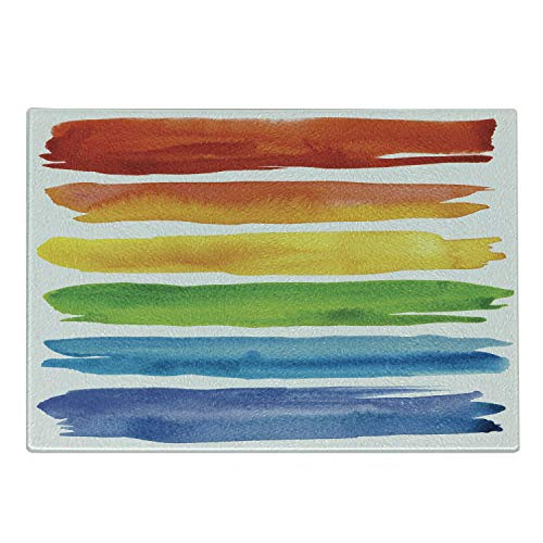 Lunarable Colorful Cutting Board, Abstract Watercolored Lines with Rainbow Color Scheme Acrylic Paint Design Print, Decorative Tempered Glass Cutting and Serving Board, Small Size, Blue Red