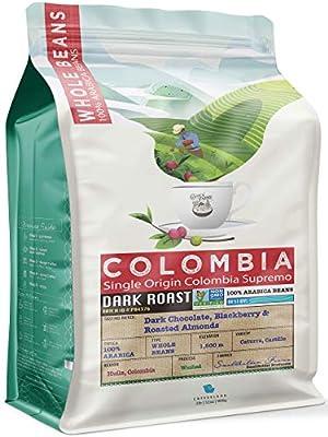 32 Ounce (2 LB) Non-Gmo Single Origin Colombia Dark Roast Whole Bean Coffee, Notes - Dark Chocolate Toffee Blackberry, CoffeaFarms by Coffeeland