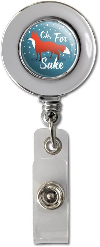 Oh All items free shipping for Fox Sake Funny on Teal Max 63% OFF Badge Chrome C ID Reel Retractable