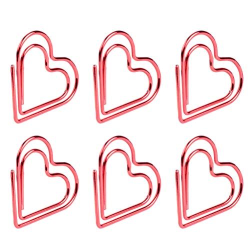 TOYANDONA 2 Scatole Cuore Fermacarte Creativo Carino Note Foto Clip Metallo Segnalibro Clip per Ufficio Scuola Matrimonio Decorativo (Rosso)