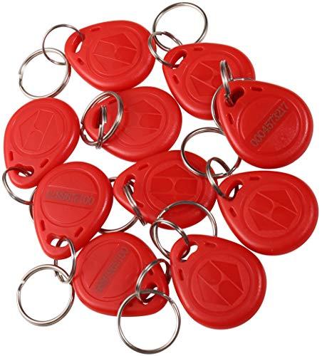 UHPPOTE EM4100 EM4102 125KHz RFID EM-ID Karte Tag Token Schlüsselanhänger Keyfob Read Only Farbe Red Pack von 10