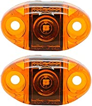Pair of LED Amber Oval Surface Mount Clearance Side Marker Light - USA Made with Lifetime Warranty, PC Rated (Two Lights)