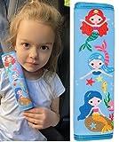 2 x Protectores para cinturón de seguridad para niños HECKBO® con dibujos de sirenas, protectores de hombros, almohadillas para el hombro, almohadilla para el cinturón de seguridad, para bicicleta