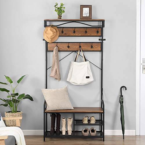 O&K FURNITURE Hall Tree with Shoe Storage Entryway Bench with Coat Rack Mudroom Bench with Storage and Hooks Brown