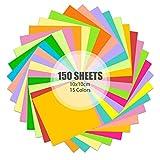 Hanyousheng Papel de Origami de Colores, Papel de Color, 15 Colores Surtidos,150 Hojas, Papel de Origami,Para Niños y Adultos 10x10 cm,de Doble Cara