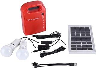 Sistema de Iluminación Solar, USB Portátil al Aire Libre Casero de Energía Solar de Carga Sistema de Iluminación LED Bombillas Generación de Energía con 2 USB Cable de Carga 4 en 1