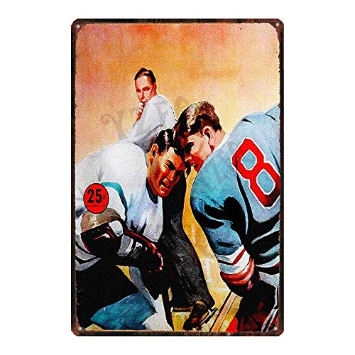 LCCNE Hockey is Life Tin Metal Sign Sport Wall Stickers Wall Pub Cafe Shop Home Art Gym Decor Retro Poster 20x30cm DU-7007