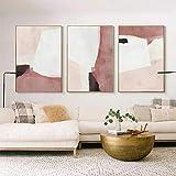Lienzo rosa abstracto cuadro al óleo Cuadros de bloques de color nórdicos imprimir imágenes artístic...