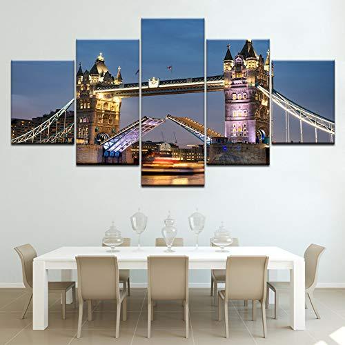 WOKCL Cuadro en Lienzo London Art Pictures Modern Painting 5 Piezas para la decoración de la Pared Tower Bridge London Night View Imprime Obras de Arte, sin Marco