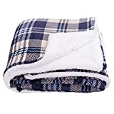 SOCHOW Sherpa Plaid Fleece Throw Blanket, Double-Sided Super Soft Luxurious Bedding Blanket 50 x 60 inches, Yellow/Blue