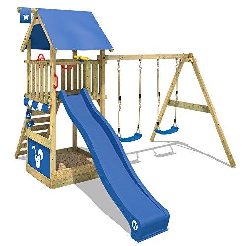 WICKEY Parque infantil de madera Smart Shelter con columpio y tobogán azul, Torre de escalada da exterior con arenero y escalera para niños