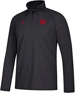 adidas Nebraska Cornhuskers NCAA Men`s Sideline Definition Black 1/4 Zip Climalite Ultimate Fleece