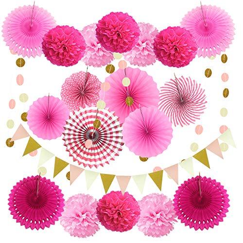 Zerodeco Party Dekoration Papier-Bommeln, Aufhängen Fächer, Dreieckige Wimpel und hängende Glitter Punkt Papier Girlande für Party Hochzeit Geburtstag Festival Weihnachten Event Karneval 21 Stück