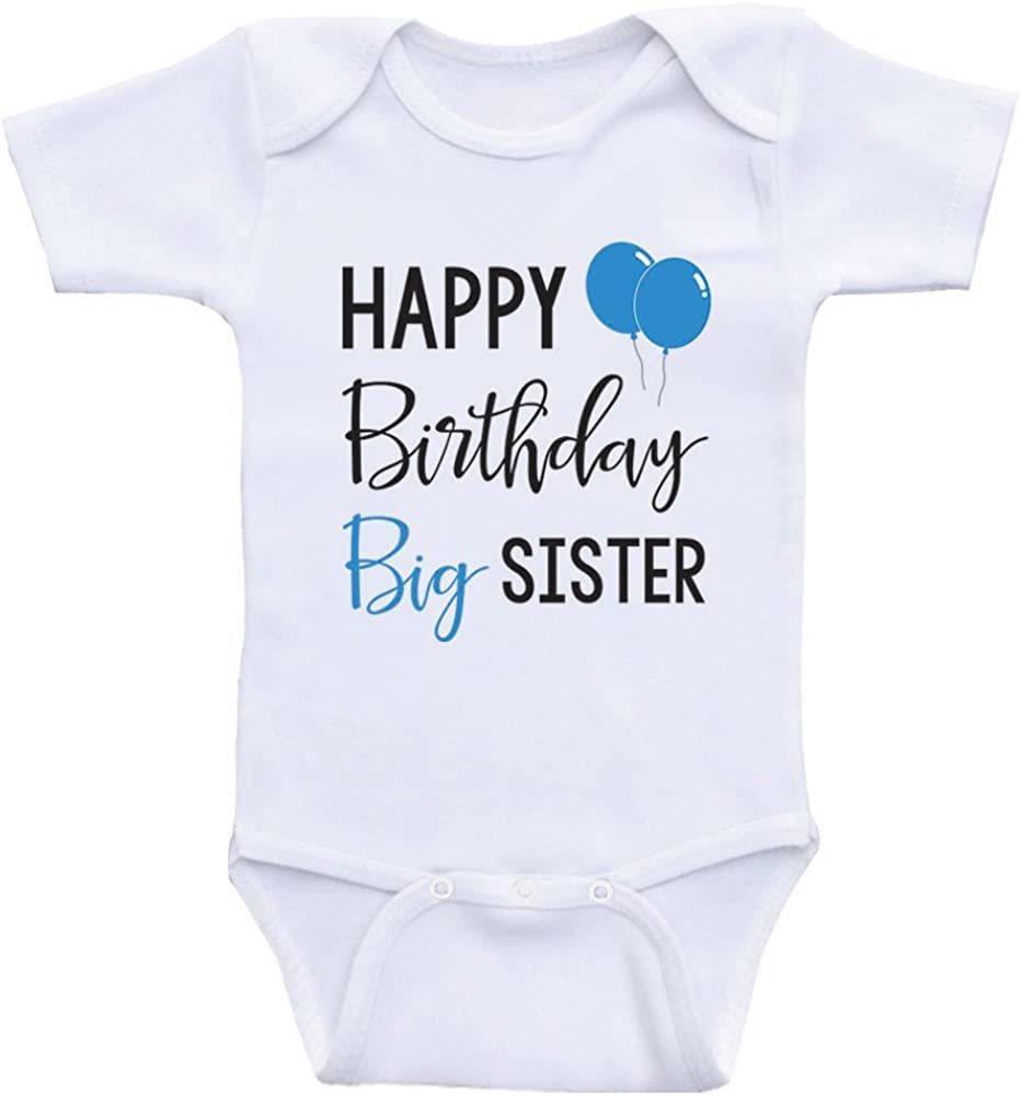 Personalised Big Sister Birthday Present Gift baby Kids Grow Bodysuit Vest Girl
