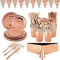 furuix 194pcs stoviglie per feste in oro rosa stoviglie in alluminio rosa stoviglie piatto di carta tovagliolo tazza di carta stoviglie anniversario di matrimonio stoviglie in oro rosa (24 ospiti)