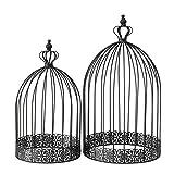 CasaJame Hogar Muebles Decoración Accesorios Adornos Design Juego de 2 Jaulas Decorativas para Pájaros Shabby Chic Vintage Style Negro Altura 45/55 cm Ø 25/30 cm