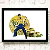 ポスター アートポスター Bruce Lee (176) おしゃれ A3 映画額縁のある絵 木製の枠 モダン 42cm x 30cm フレーム ブラック