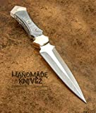 Handmade Knivez Special Edition Beautiful D-2 Steel Handmade Hunting Knife with Leather Sheath, Blade Outdoor Hunting, Survival, Tactical and EDC Tool, Tactical Knives, Dagger D-2 Steel, Double Edge