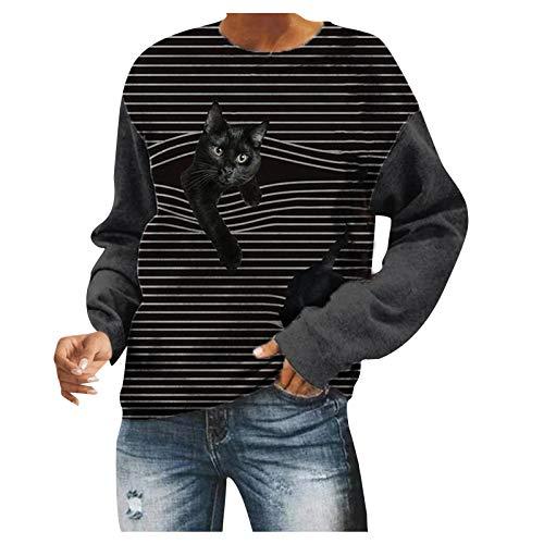 Frauen Lässige Rundhals Sweatshirt Herbst T-Shirt Bluse mit langem Ärmel Hals und...