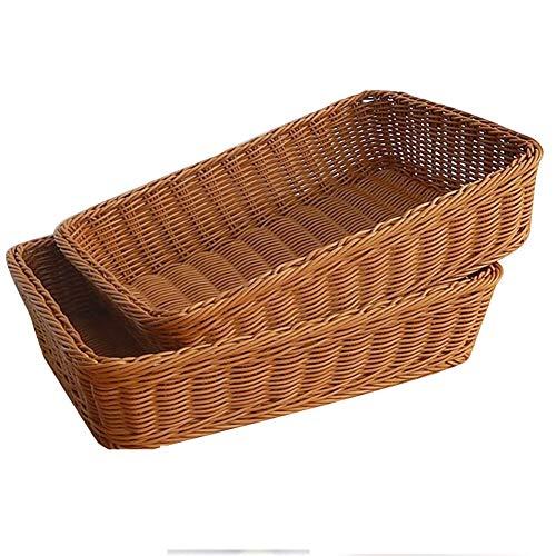 Set of 2Pcs Rectangular Imitation Wicker Plastic Bread Basket Food Serving Baskets Spice Bottle Holder Market/Restaurant Food Diplay Baskets for Vegetable, Fruit and Snacks