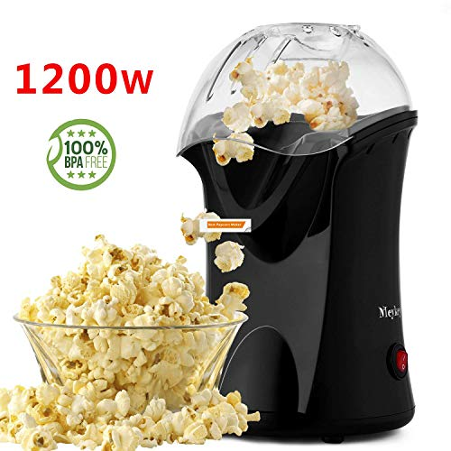 Hot Air Popcorn Maker,Popcorn Machine,Popcorn Popper 1200W,No Oil Needed, Including Measuring Cup and Removable Lid (Black)