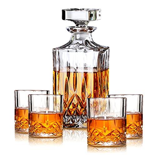 MIWU Juego de regalo de whisky – Decantador de 700 ml con tapón de vidrio, 2/4/6 copas de whisky combinadas, idea perfecta como regalo para papá (6 tazas)