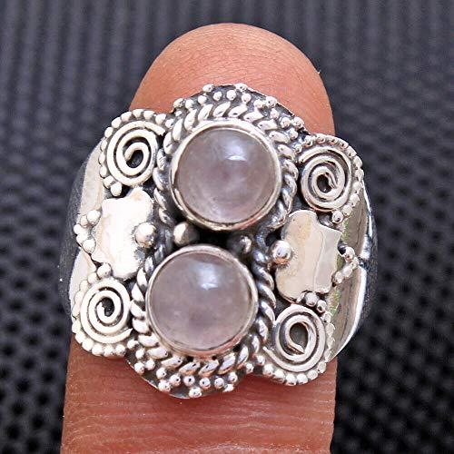 Rose-Quartz 925 Sterling Silver Rings for Women, Pink Bridesmaid Rings, Round Gemstone Rings, 2-Stone Rings, bezel Set Handmade Rings