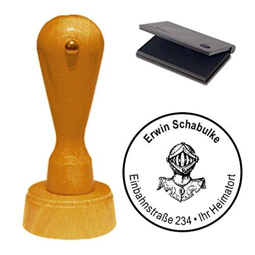 Adressenstempel Stempel mit Kissen « RITTER RÜSTUNG » Durchmesser ca. Ø 40 mm - mit persönlicher Adresse und Motiv - Mittelalter Mittelaltermarkt Larp