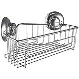 G-Lok - Estante de ducha esquinero organizador con ventosas, no necesita ganchos, soporte de acero inoxidable para champú y acondicionador