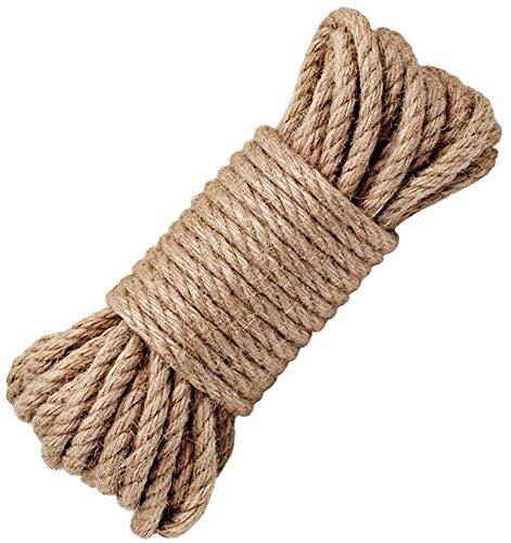 MGE - Cuerda de Cáñamo - Cordel de Yute - Cuerda de Sisal - Bramante para Manualidades, Jardinería, Embalaje. - 8 mm - 20 Metros