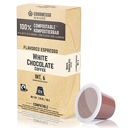 Gourmesso Eco Line White Chocolate - 100% kompostierbare* und nachhaltige Kaffeekapseln | ohne Alu und Plastik – 30 Nespresso kompatible Kaffeekapseln – Fairtrade