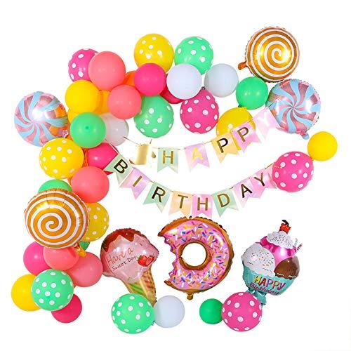 Birthday decoration girl, birthday decoration happy birthday garland balloons birthday decoration set, candy donut ICE foil balloon for children women boy candyland party decorations,Ice cream set