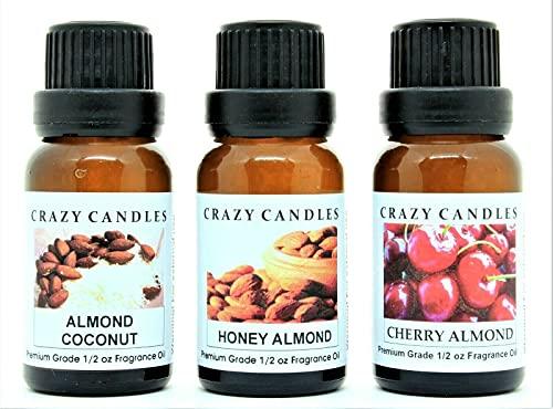 Crazy Candles 3 Bottle Set (Made in USA) 1 Almond Coconut, 1 Cherry Almond, 1 Honey Almond 1/2 Fl Oz Each (15ml) Premium Grade Scented Fragrance Oils