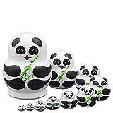 LK King&Light 10pcs Pandas Russian Nesting Dolls Matryoshka Toys