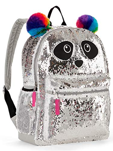 Panda Sequin Backpack for Girls - Panda Backpack with 2 Way Sequins