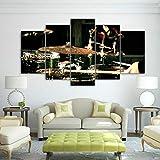 Impresiones sobre Lienzo Music Instrument 5 Cuadros En Lienzo Modernos Salón Decoracion Murales Pared Lona XXL Grande Hogar Dormitorios Arte Pared HD Impresión Foto