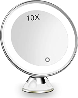 Led 10X Magnifying lighted makeup mirror, Magnified Mirror with lights Dimmable Daylight 360° Locking Suction, Cordless Po...