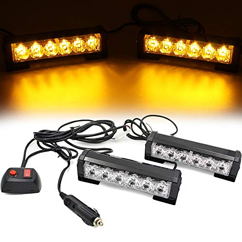 FOXCID 2 X 6 LED 9 Modes Traffic Advisor Emergency Warning Vehicle Strobe Lights for Interior Roof / Dash / Windshield / Grille / Deck Universal Waterproof (Amber / Yellow)