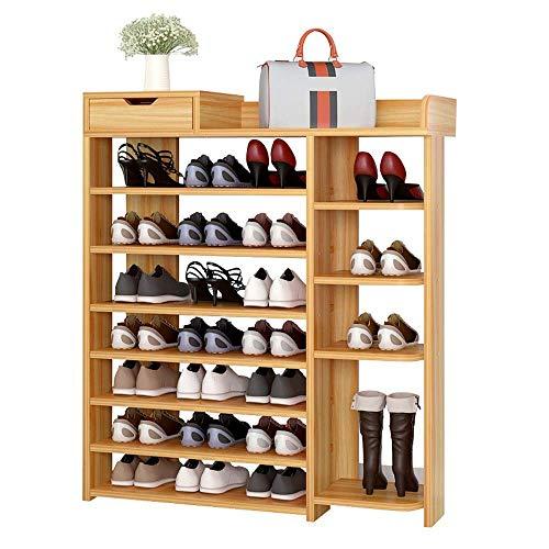 AOIWE Zapatero de madera de nogal clásico, 7 niveles, ideal para sala de estar, ahorro de espacio, fácil de montar