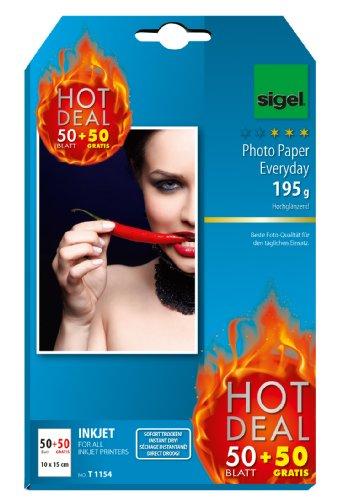 Sigel T1154 InkJet Fotopapier, 50 + 50 Blatt gratis, 10 x 15 cm, hochglänzend, 195 g