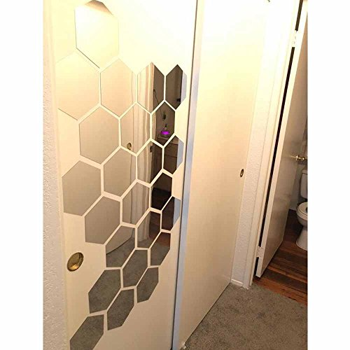 Hexagon Wall Decals H2MTOOL 12 PCS Large Removable Acrylic Mirror Wall Stickers for Home Living Room Bedroom Decor 9cm Silver